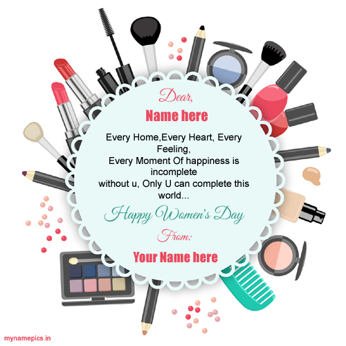 Write name on womens day wish profile pics