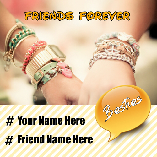 Print Name on Friends Shaking Hand With Friendship Band