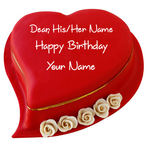 Bright Red Heart Lover Special Birthday Cake With Name