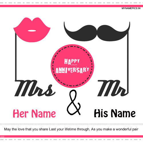 write name on happy anniversary greeting card