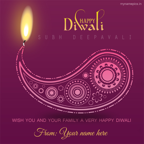 Write name on happy diwali celebration greetings