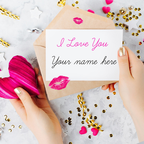 Write Name on Romantic I Love You Note Greeting Card