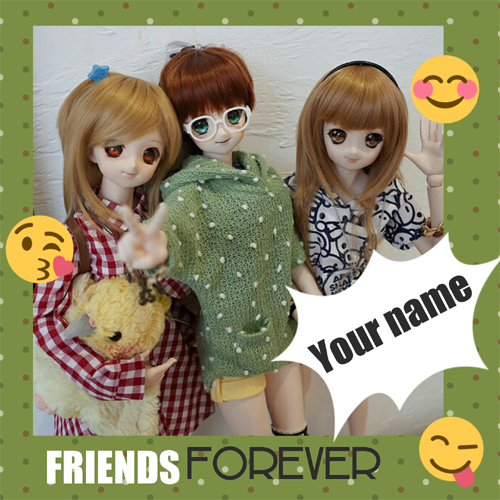 Friends Forever Cute Dolls Greeting Card With Name