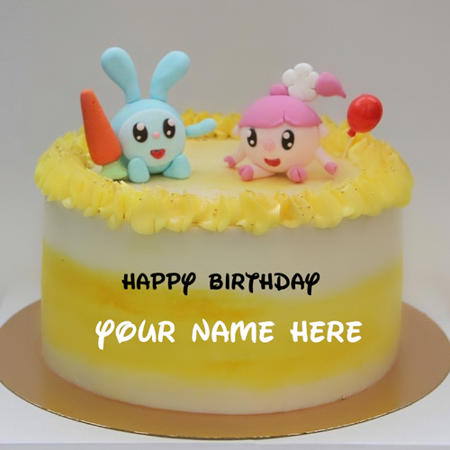 Happy Birthday Wishes Cartoon Cake With Custom Name