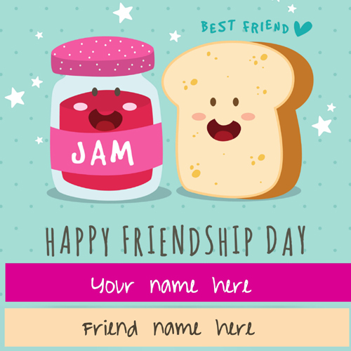 Cute Friendship Day Whatsapp Greeting Card With Name