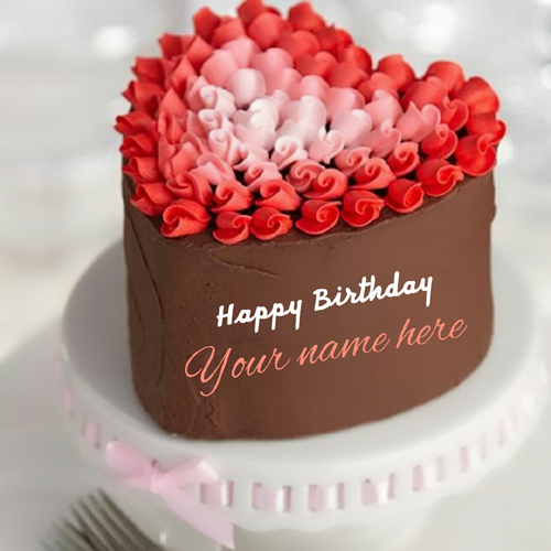Happy Birthday Heart Shape Cake For Lover With Name