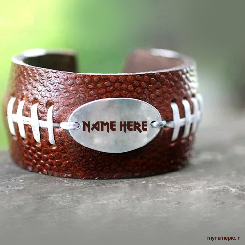 Write your name on Brown Leather Bracelet display pictu