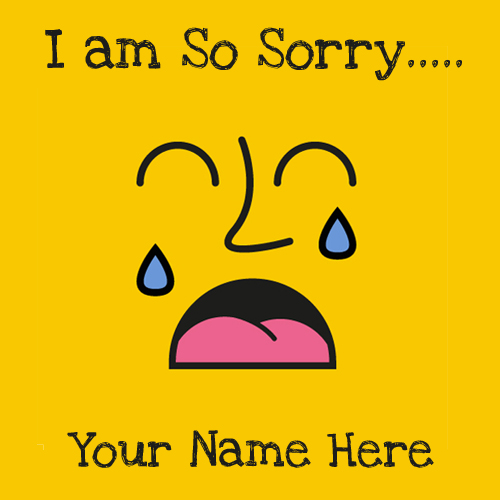 I am So Sorry Cute Face Greeting Card With Your Name