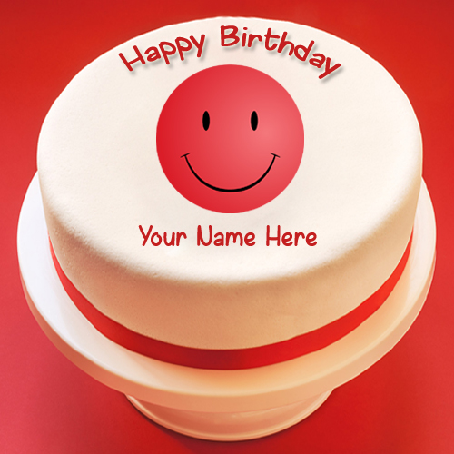 Red Smiley Symbol and Emoticon Cake With Your Name