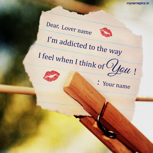Write your name on i am addicted Love Note profile pict