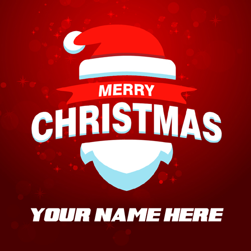 Beautiful Red Christmas Greeting Card With Your Name