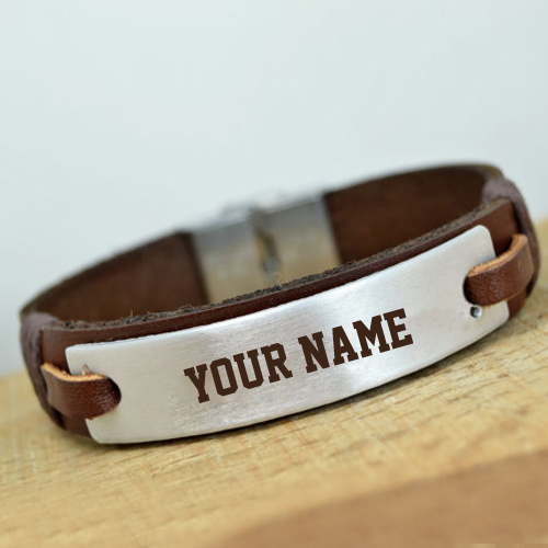 Personalized Womens Leather Bracelet With Her Name