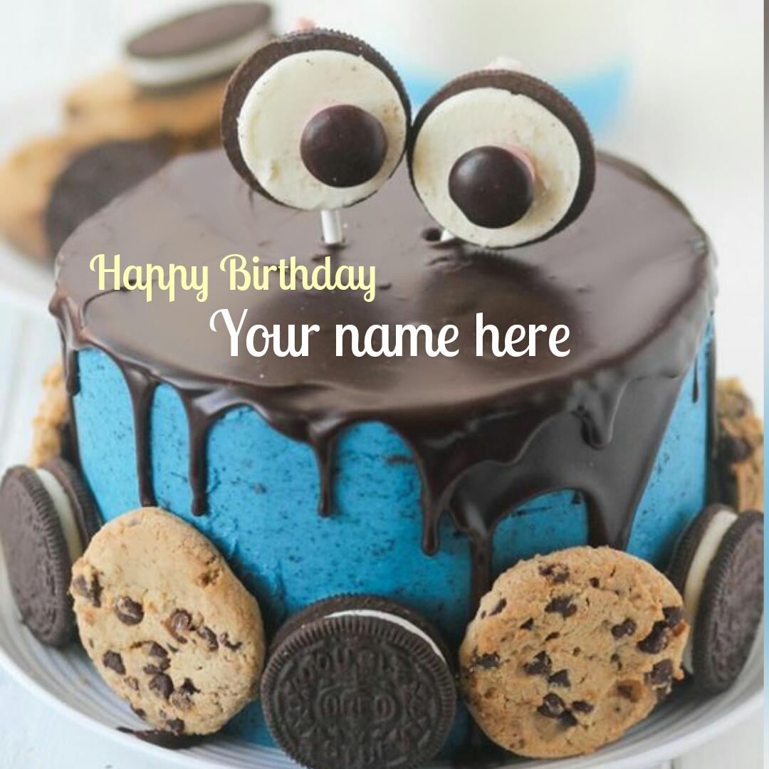 Oreo And Chocolate Chip Cookies Birthday Cake With Name