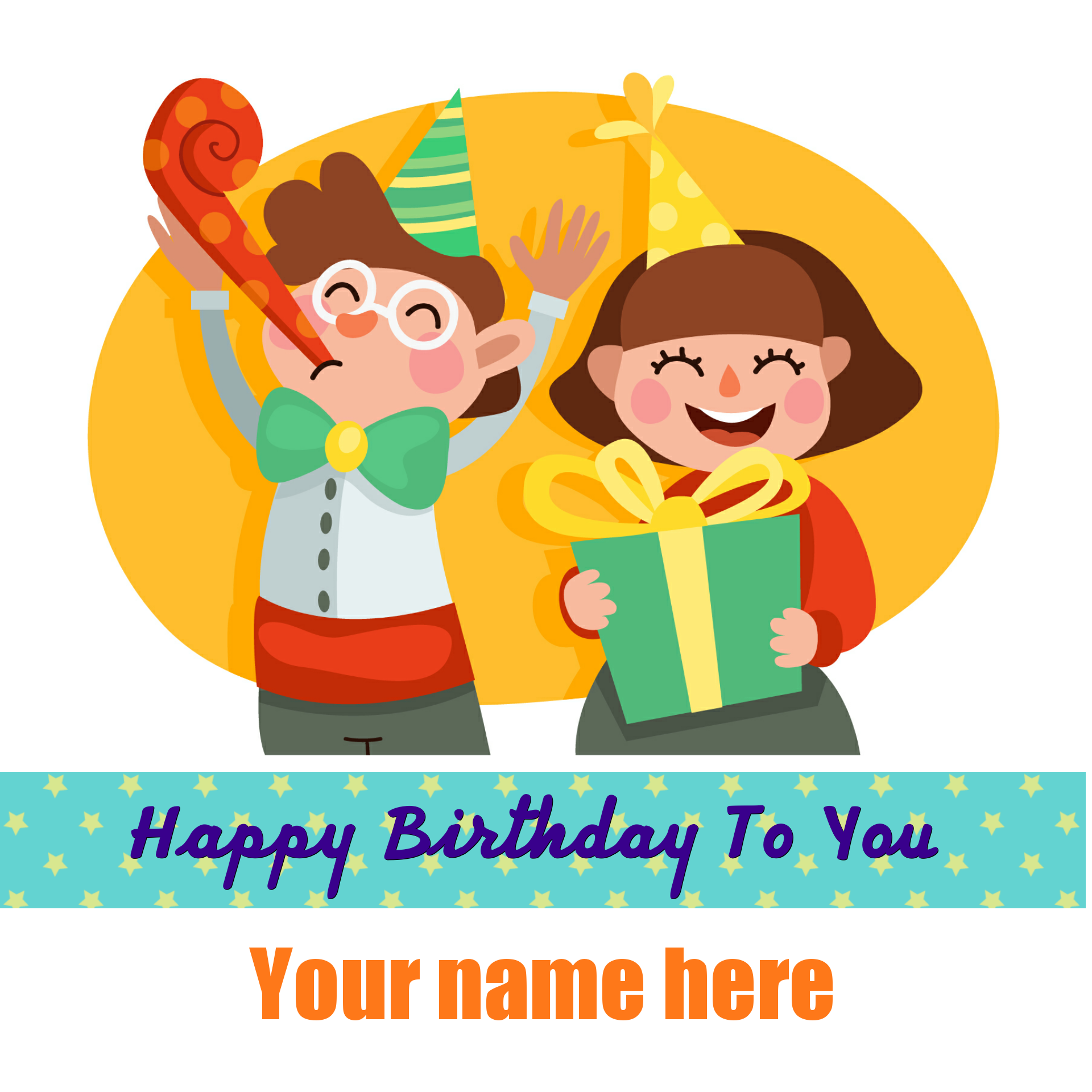 Happy birthday cute kid party pic with your name