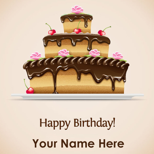 Happy Birthday Delicious Cake Greeting With Your Name