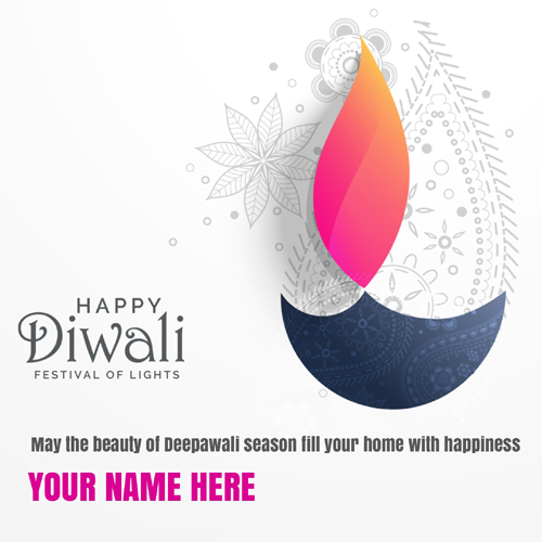 Happy Diwali Beautiful Quote Greeting Card With Your Na