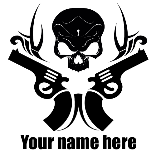 creative skull and gun tattoo with your name on it