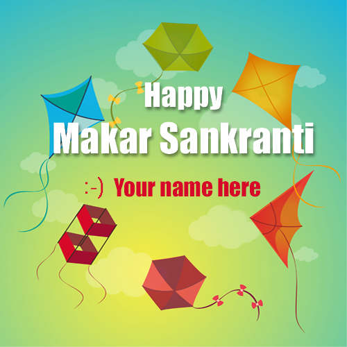 Write name on happy makar sankranti kite flying pics