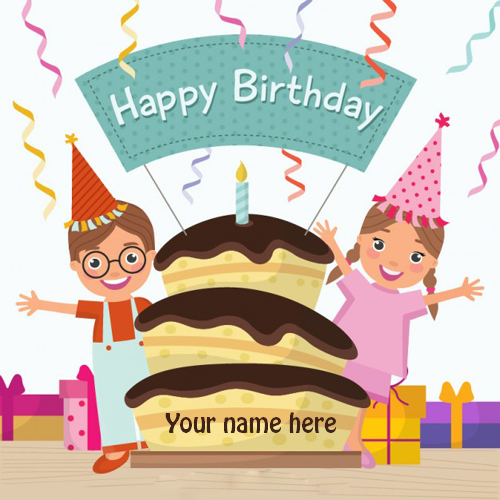 Write name on cute cartoon Birthday greeting card pix