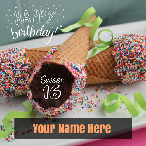 Happy Birthday on Sweet Sixteen Greeting With Your Name
