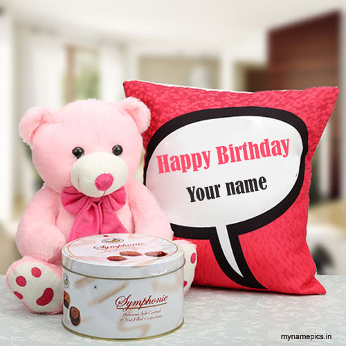 write name on birthday card with teddy and chocolate – Birthday Greeting Cards with Name