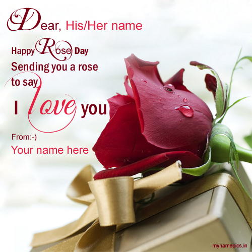 Happy Rose Day Greeting With Quotes and Your Name