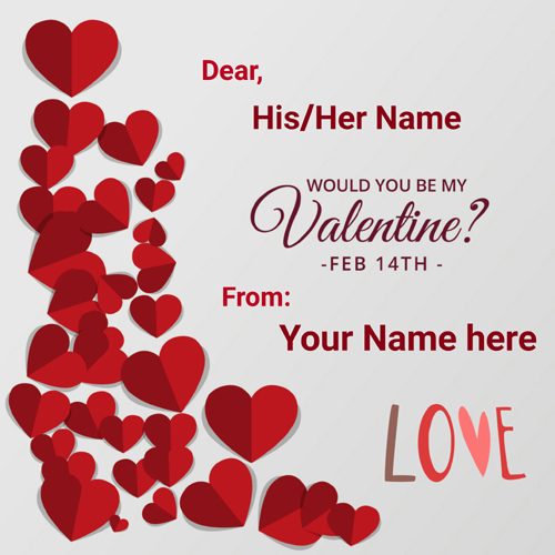 Valentine Day 14th Feb Name Card With Crystal Red Heart