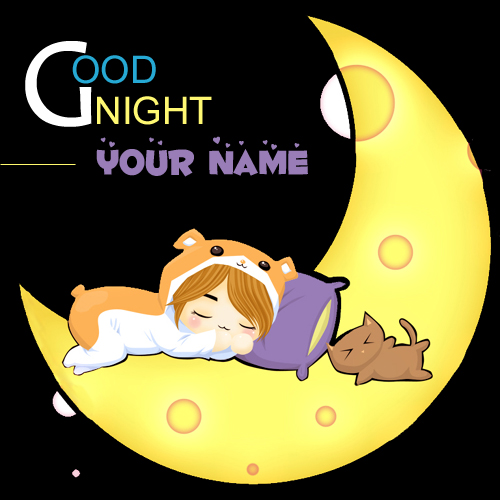 Write name on good night cute doll profile pics