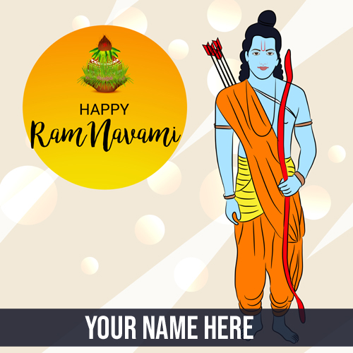 Happy Rama Navami Celebration Greeting Card With Name