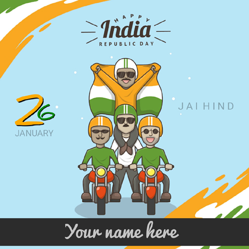 Happy Republic Day 26th January Greeting With Your Name