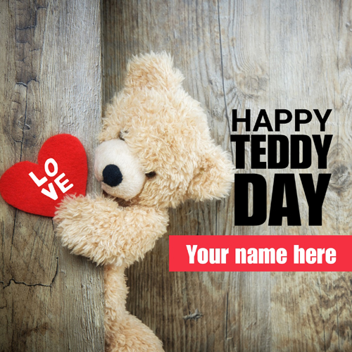 Happy Teddy Day Romantic Valentine Week Name Greeting