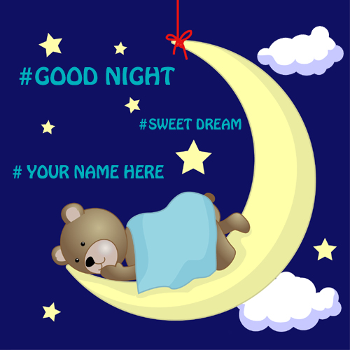 Good night sleeping teddy greeting card pics