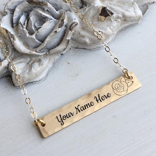 Beautiful Rose Bar Pendant Jewelry With Your Name