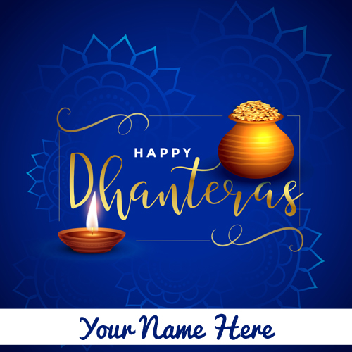 Happy Dhanteras Wishes Elegant Greeting With Your Name