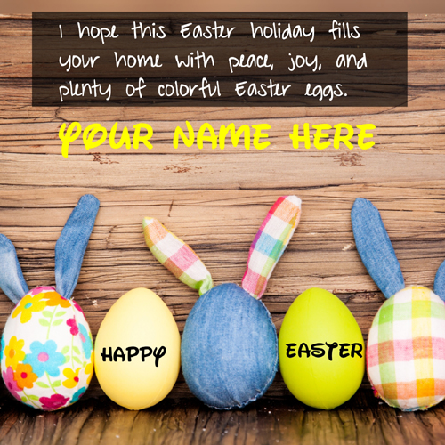 Happy Easter Day With Colorful Eggs Greeting With Name