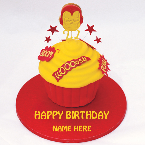 Amazing Iron Man Birthday Cup Cake With Your Name