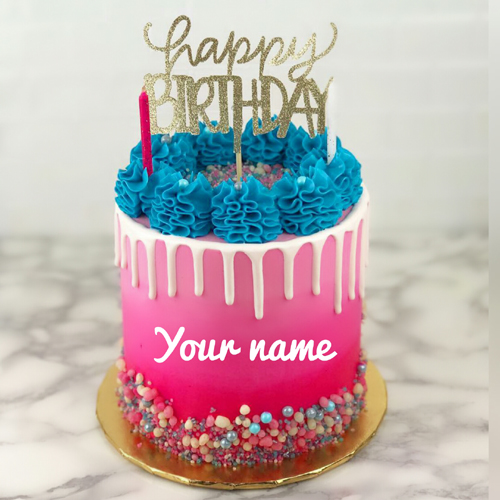Happy Birthday Double Layer Beautiful Cake With Name