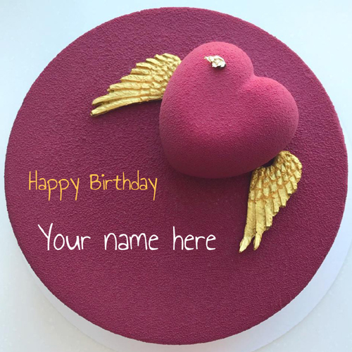 Elegant Purple Cake For Birthday Wishes With Name