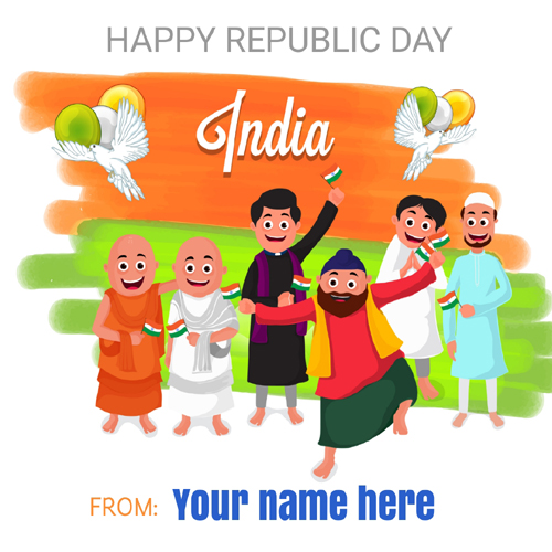 Write your name on happy republic day celebration online happy republic day celebration greeting card with name m4hsunfo