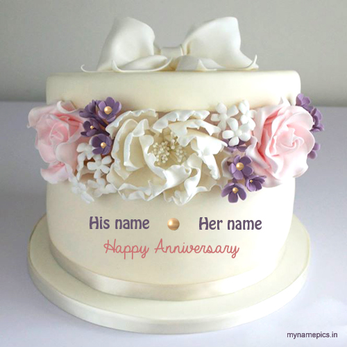 Write name on beautiful flower anniversary cake profile