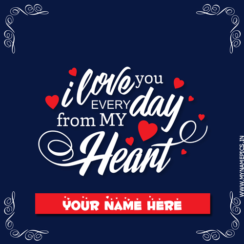 Write Name on I Love You Romantic Quote Greeting Card