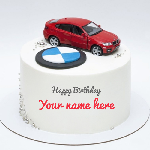 BMW Car Birthday Wishes Awesome Round Cake With Name