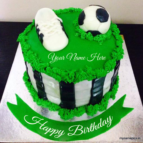 write name on birthday football cake pic
