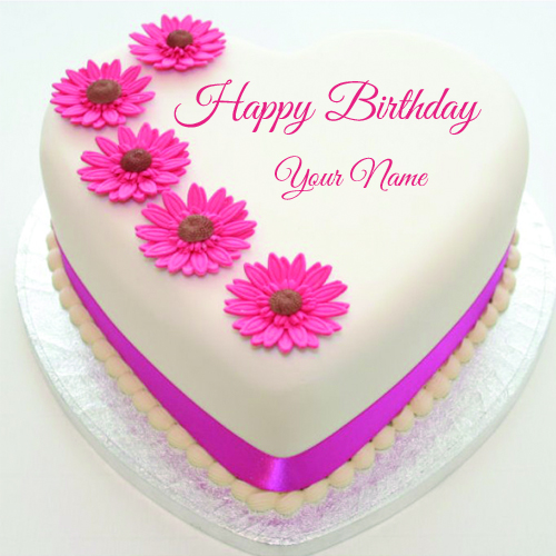 Happy Birthday Pink Flower Cake With Name