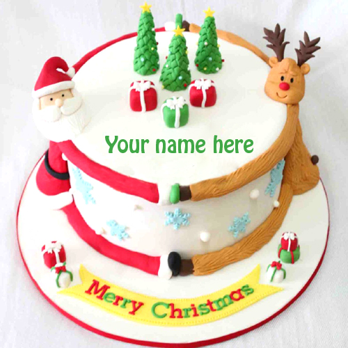 Write name on Merry Christmas cake profile pic