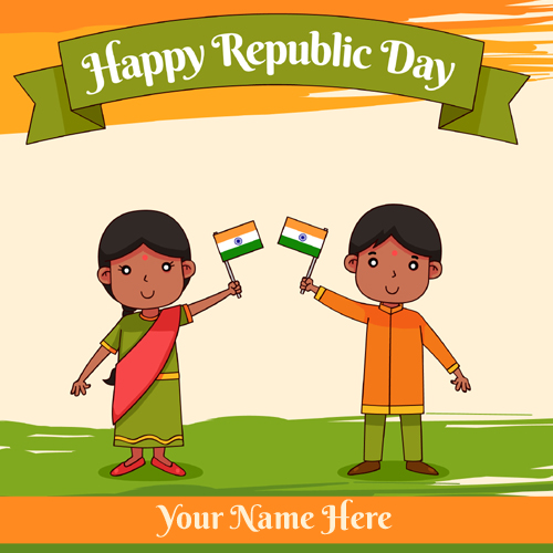 Indian Republic Day Wishes Whatsapp Image With Name