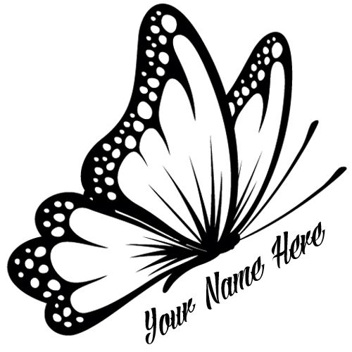 Flying Butterfly Tattoo Design With Your Custom Name