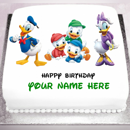 Smiling and Happy Donald duck Birthday Cake With Name