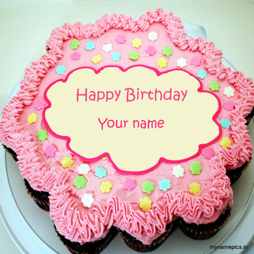 Write name on Birthday cake image online