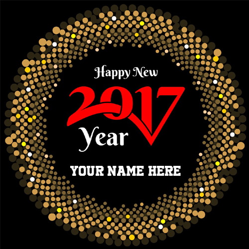 Happy 2017 New Year Wishes Black Greeting With Name